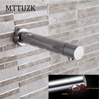 MTTUZK Chrome Brass Wall DC6V Battery Power Integrated type Automatic Sensor Tap Bathroom Wash Basin Touchless infrared Faucet