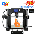¡ Venta caliente! de gran tamaño de impresión de precisión kit diy impresora reprap prusa i3 3d con 1 rollo 0.25 kg filamento 8 gb sd