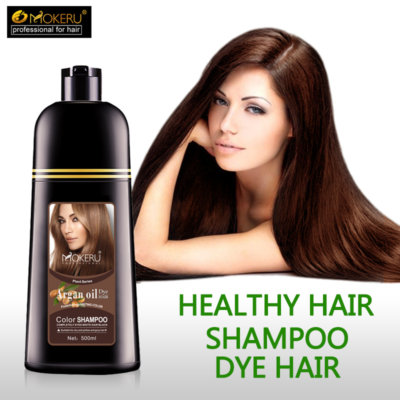 1pc 500ml Mokeru organic hair dying good effect long lasting argan oil hair dye shampoo for cover gray hair-in Hair Color from Beauty & Health