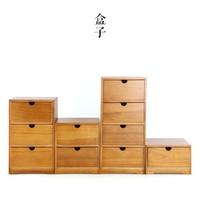Japanese folk art wood storage box wooden drawer Desktop cosmetic gift jewelry storage box finishing debris box