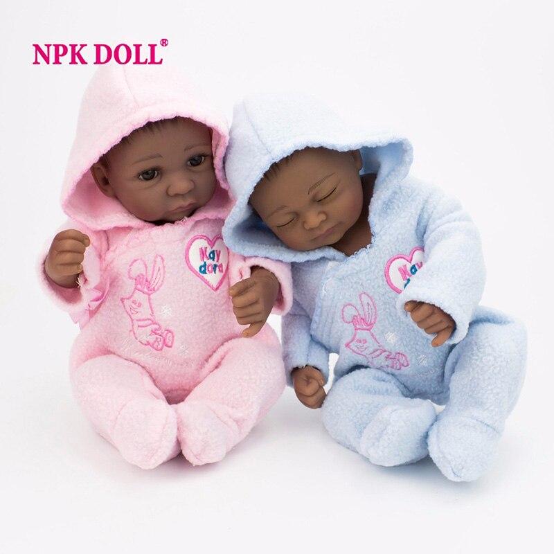 NPKDOLL 10 Inch 25CM Handmade Reborn Dolls Boy Soft Silicone Lifelike Mini Realistic Ful ...