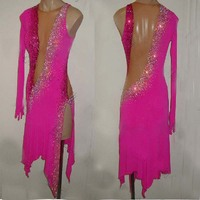 Latin dance costumes women salsa dancewear of 2019 latin pink AB cryst dance costume dresses ballroom competition dresses tango