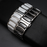 20mm 22mm Ceramic And Stainless Steel Watchband White AND black watch band watch strap Butterfly Buckle men wristband metal new