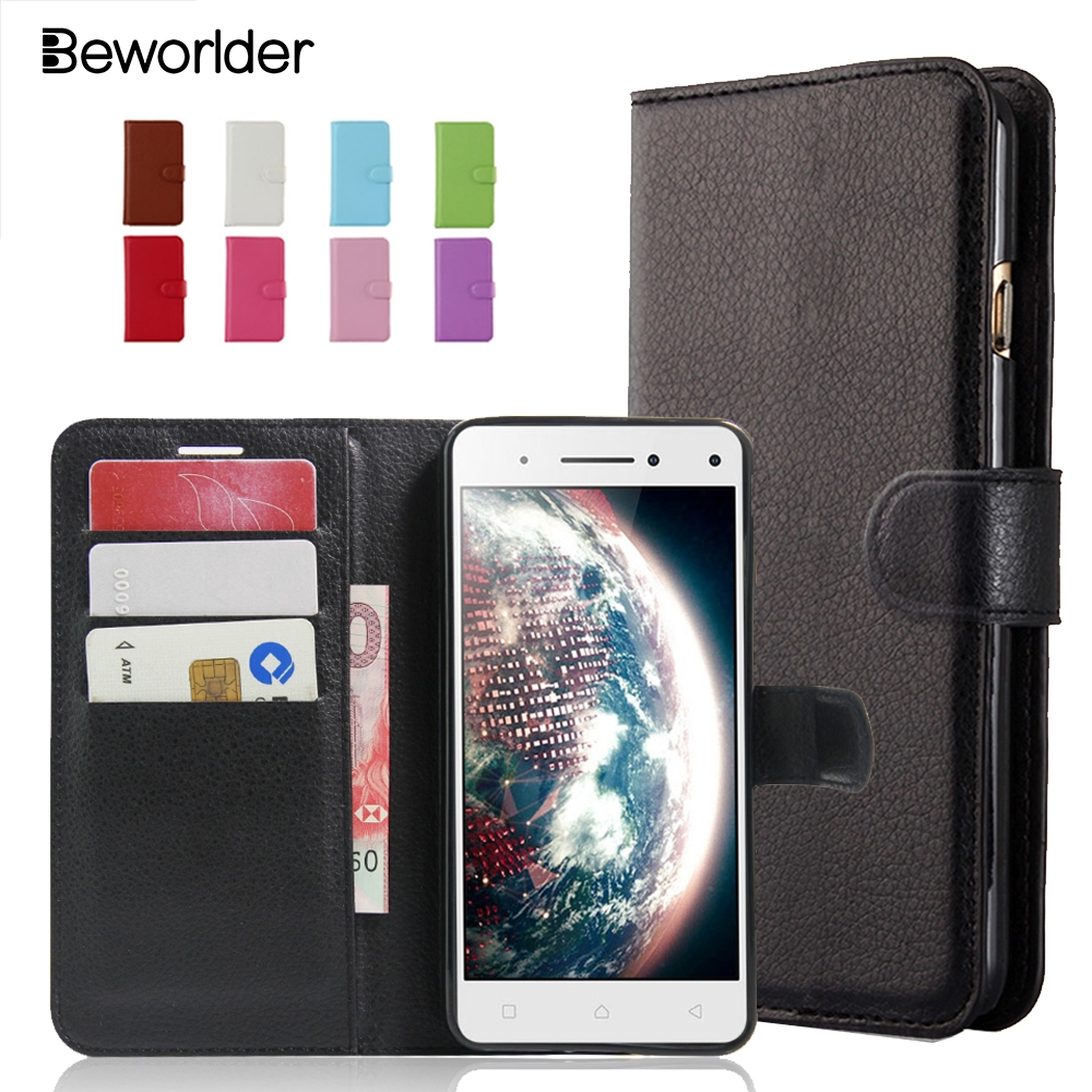 Beworlder Official Store Beworlder For Lenovo S1 Lite PU Leather Case Lychee Pattern Flip Wallet Card Slots Stander Phone Cases Cover Bags