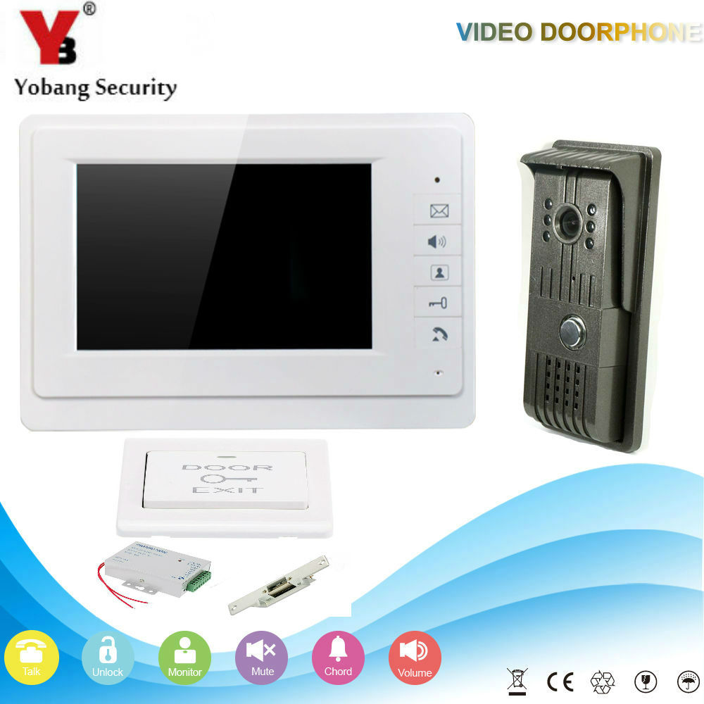 YobangSecurity 7 Inch Video Door Phone Doorbell Home Security Camera Monitor Intercom System Door Entry Kit With Door Lock yobangsecurity video door intercom entry system 2 4g 9 tft wireless video door phone doorbell home security 1 camera 2 monitor