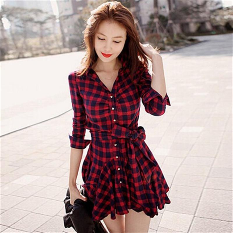Autumn Women Retro Dress Red Plaid Lapel Shirt Mini Belted Bow Casual Long Sleeve Dresses