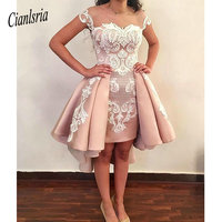 Sheer Mesh Top Satin Cocktail Dresses 2020 Lace Applique Over Skirts Formal High Low Sheer Back Party Short Prom Gowns