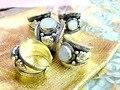 1 Peça Excelente Jade Branco Pérola Anel de Prata Velho Tibete Nepal Anel Ajustável charme Partido Presente Unisex
