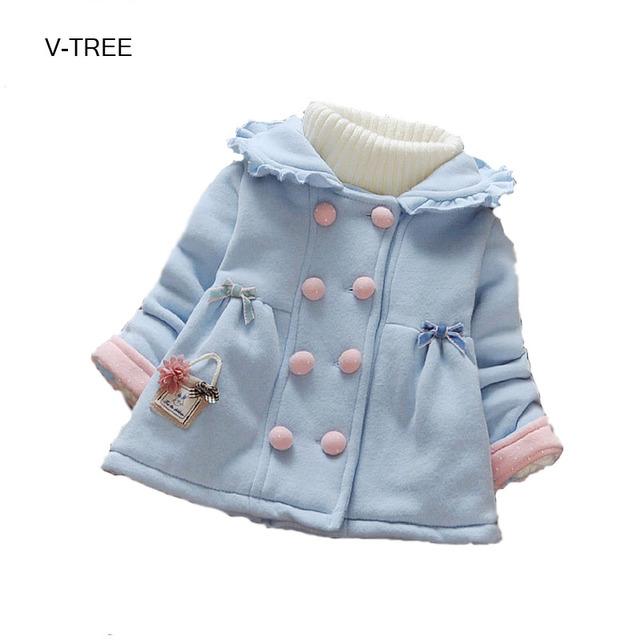 Casaco de inverno das crianças novas Crianças roupas quentes para a menina Double breasted casaco espessamento do bebê