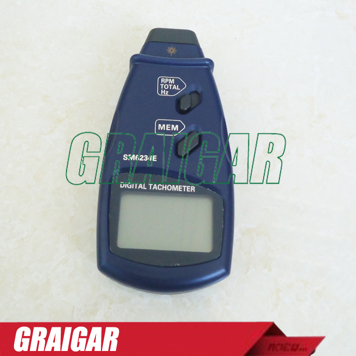 Handheld Digital Photo Contact Tachometer SM6234E  with 5digital, 18mm LCD  Auto Range Non-Contact RPM Meter Tool
