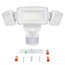 Luces LED de seguridad de tres cabezas lámpara impermeable con Sensor de movimiento al aire libre, para exteriores, 39W, 230V, Sensor de movimiento para jardín