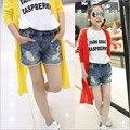 Meninas grandes Embutidos cristal calça jeans curto calças Jeans Bolso das calças de Brim Curtas Calças Do Bebê Calças Casuais Crianças Shorts Roupa das crianças