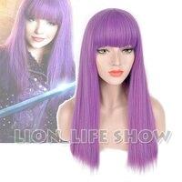 Descendants 2 Mal Bertha Maleficent Long Live Evil Straight Purple Kids Adult Cosplay Wig