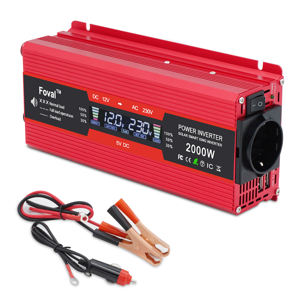 LCD Display Solar Adapter Dual USB 1500W And 2000W Car Power Inverters DC 12V To AC 220V Modified Sine Wave EU Universal Socket
