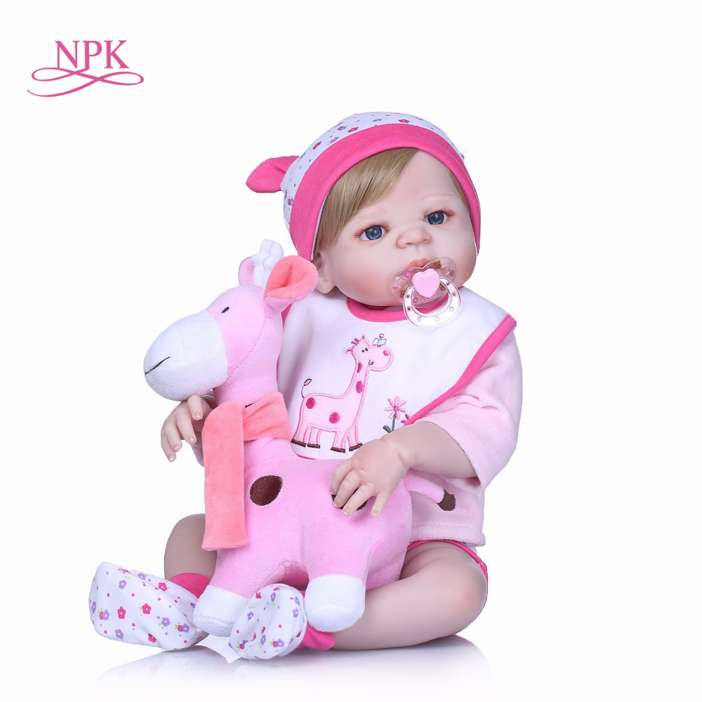 NPK Fashion 22Inch Newborn Dolls full Silicone Vinyl Realistic Babies Reborn Dolls Lifelike bebe Christmas Gifts For Menina