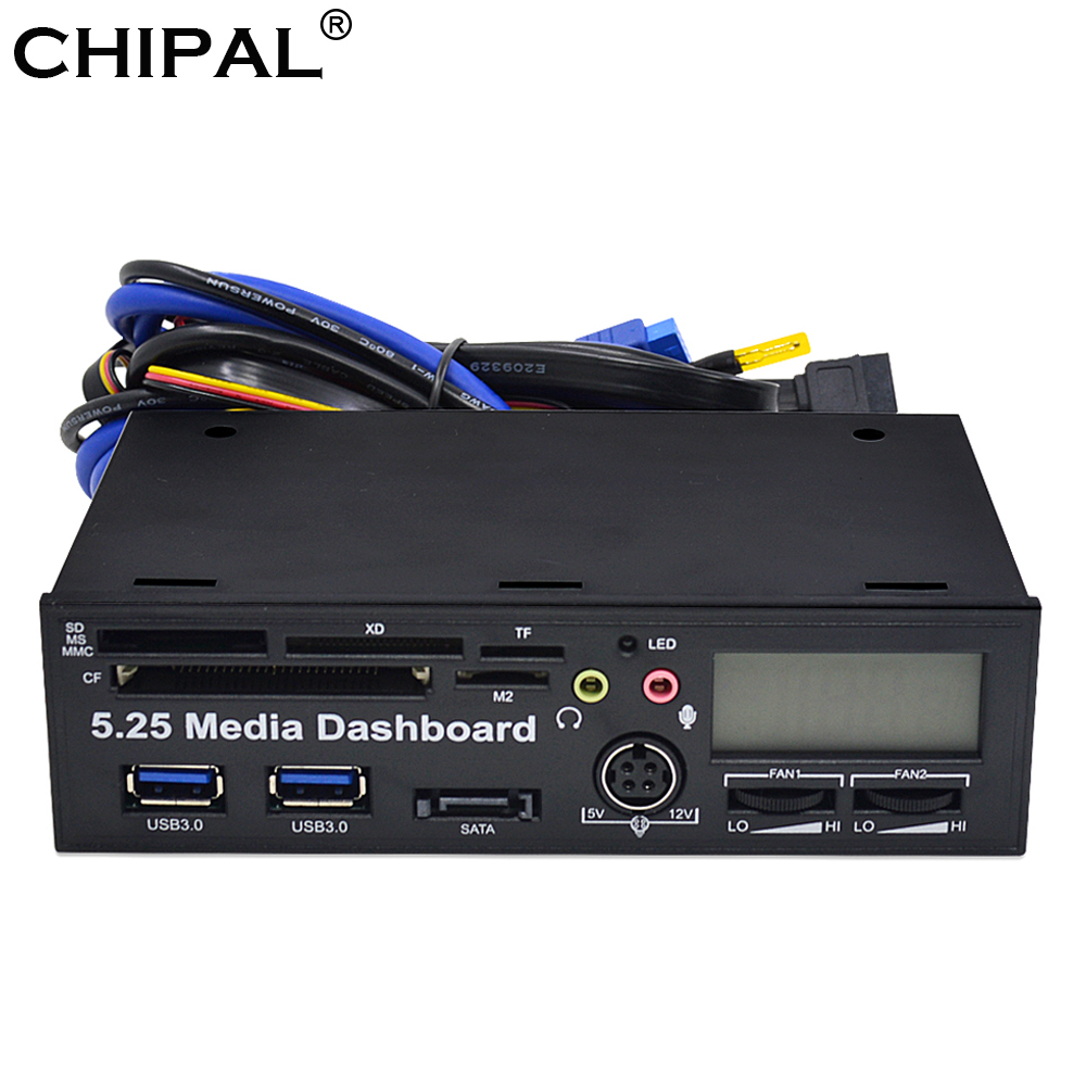 """CHIPAL 5.25"""" Media Dashboard Multifunctional USB 3.0 Front Panel MMC MS XD CF TF SD Card Reader 3.5mm Earphone MIC Interface"""