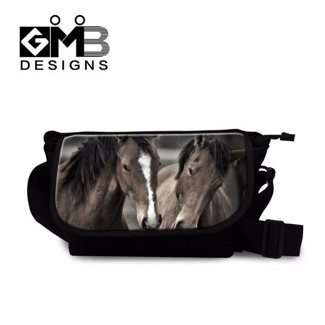 4686cf60b94 Paard canvas messenger tassen voor mannen crossbody voor tieners dier  schouder tas voor jongens cool sling