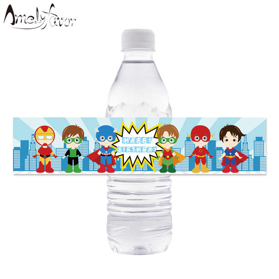 Superhero Theme Water Bottle Labels Boy Hero Water Bottle Wrappers Kids Birthday Party Decoration Supplies Superhero BottleDecor