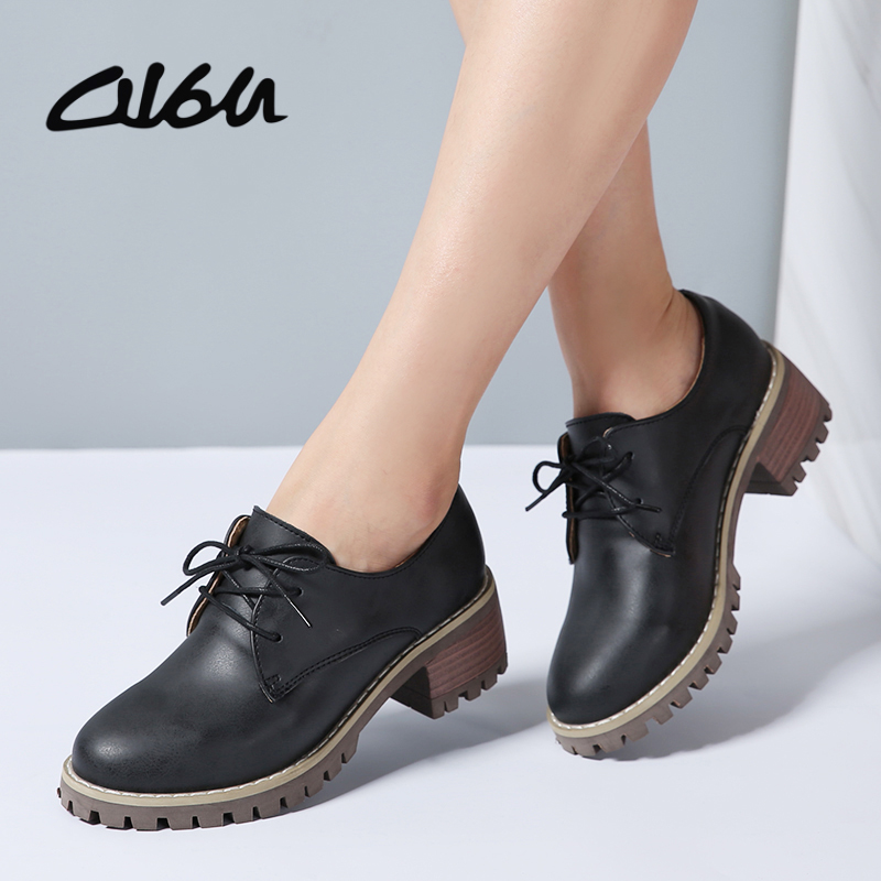 O16U Women Oxford Shoes Med Heel   Leather   Laces Round Toe Ladies Low Top Spring Shoes Women Casual Footwear 2018 New Autumn