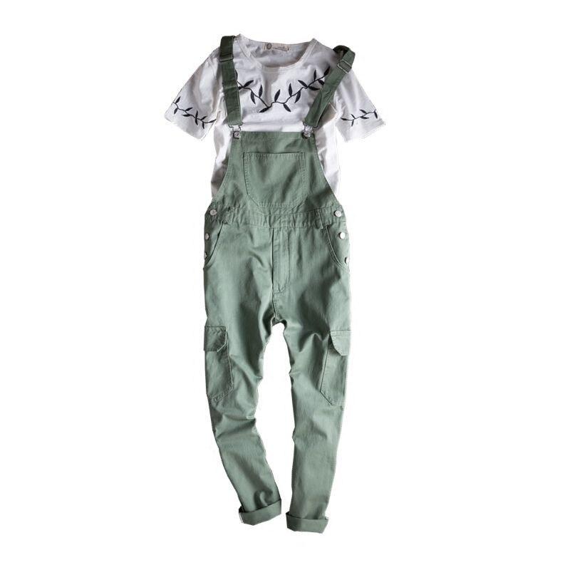 Hommes hip hop mode armée vert bavoir salopette Cool coton cargo pantalon designer combinaison pour hommes jarretelles pantalon 021304