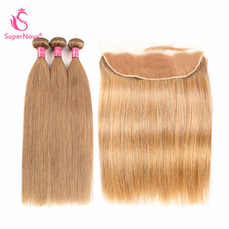 Brazilian Straight Hair Weave 3 Bundles #27 Honey Blonde Human Hair Lace Frontal Closure With Bundles Supernova Remy Hair