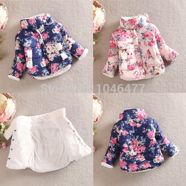 Navy Blue/Pink Color Warm Princess Girls Floral Thick Outerwear Long Sleeve Jacket Cotton Coat 3 color red pink blue cherry cardigan coat