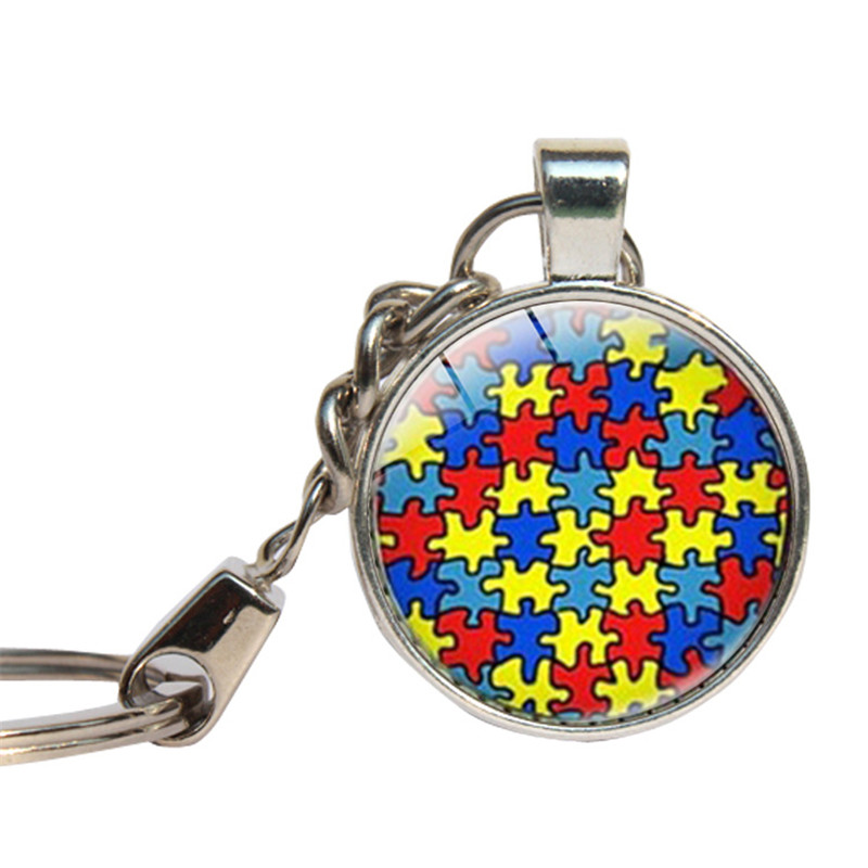 Autism Awarness Keychains Glass Dome Cure Of Autism Key Rings Child Sickness Key Chain Glass Cabochon Key Jewelry Key Holder