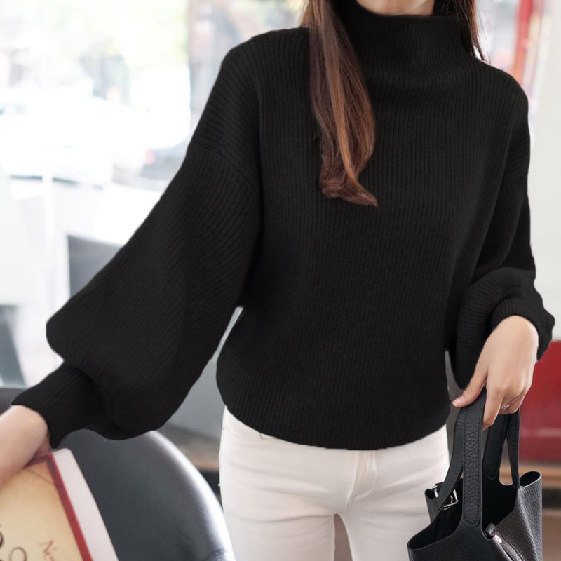 Winter Women Sweaters Fashion red white Turtleneck lantern Sleeve Pullovers Loose Knitted Sweaters Female Jumper Tops 19 6