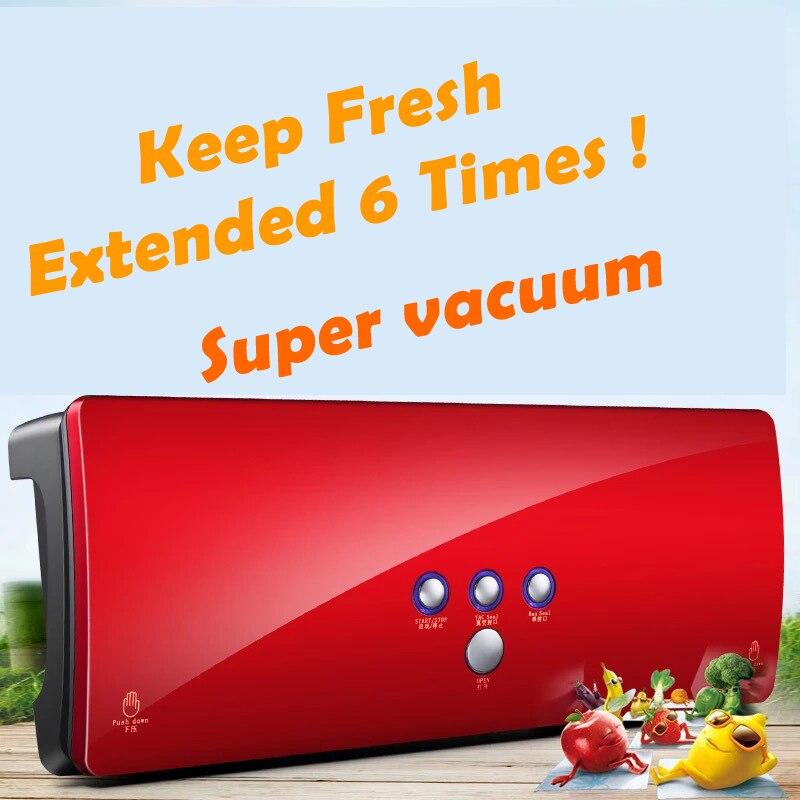 120 Вт китайский красный цвет Удобная закаточная машина для пищевых продуктов вакуумный герметик пленка герметик с вакуумными мешками быстр