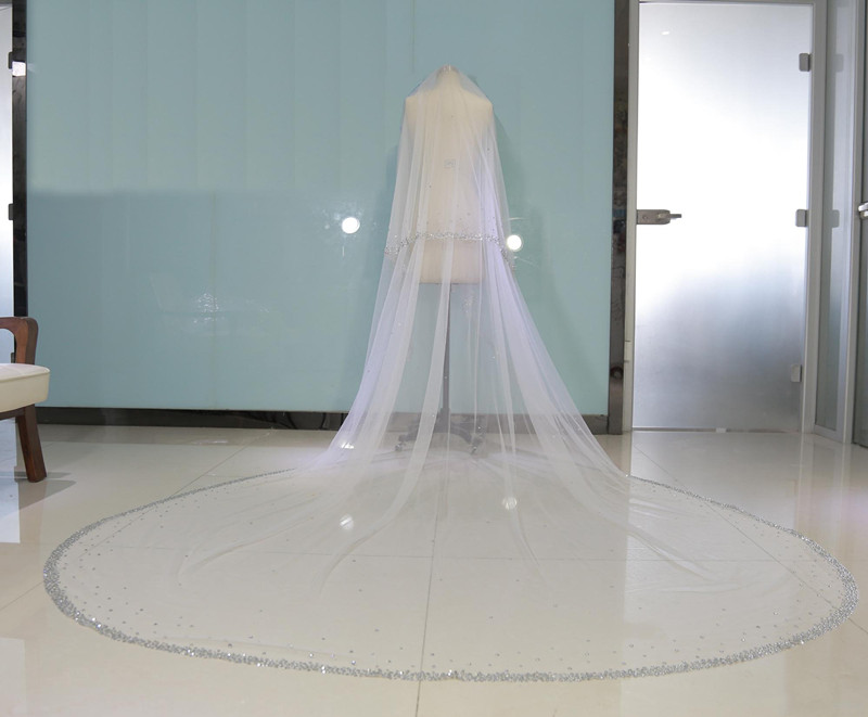 Real Image Bling Bling Beaded Two Layers Bridal Veils Luxury High Quality Long Cathedral Length Wedding Veil With Comb
