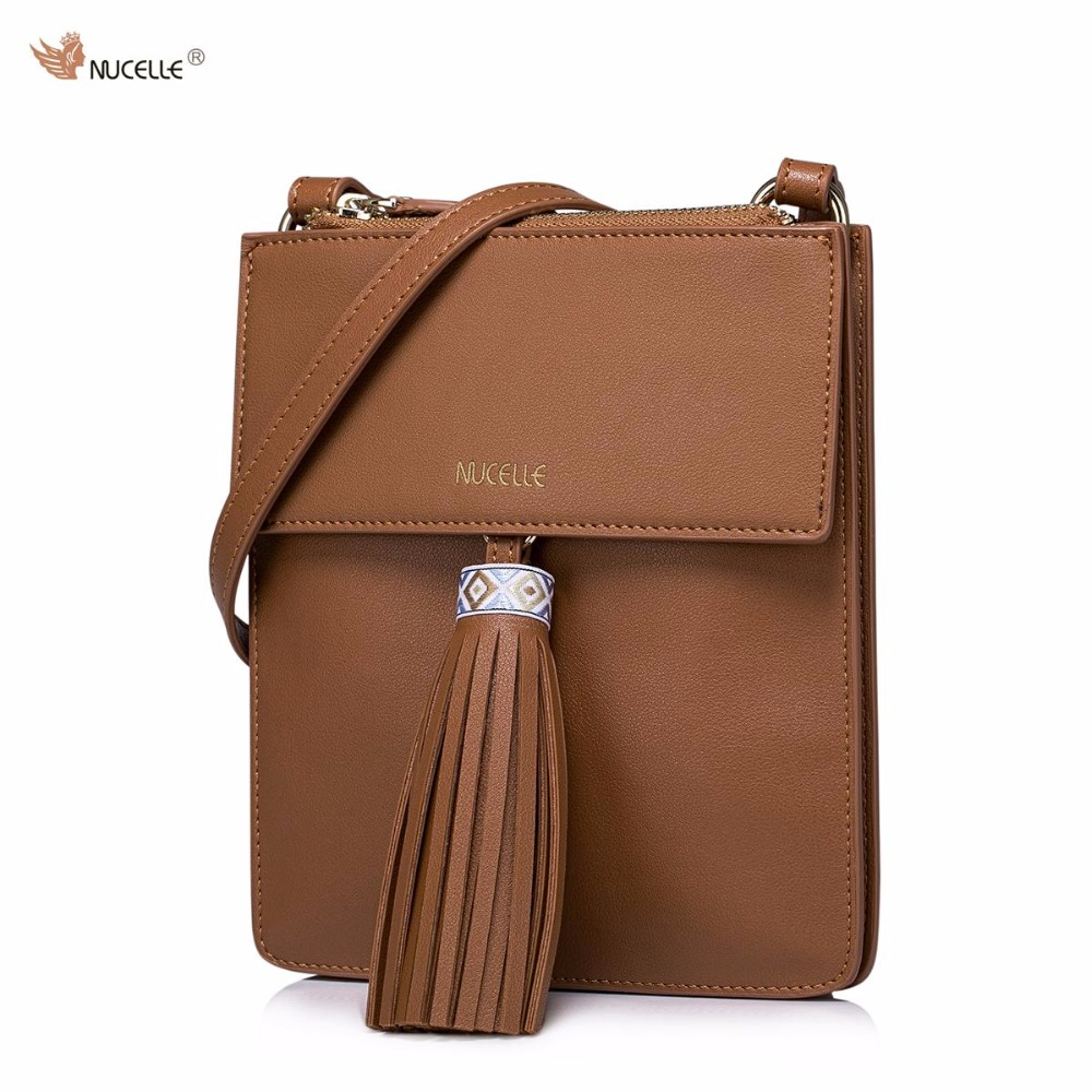 New NUCELLE Brand Design Women's Fashion Bohemian Tassels PU Leather Girls Ladies Shoulder Crossbody  Bags