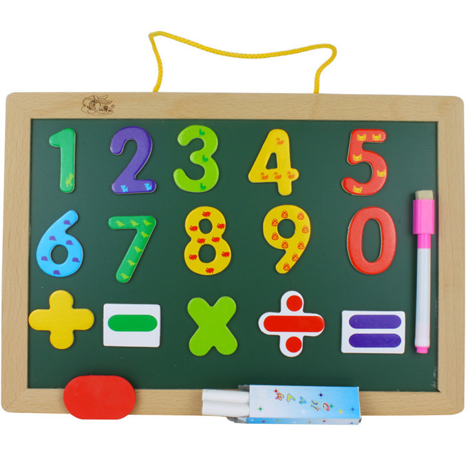 2017 Wall mounted magnetic double use drawing board wooden font b toys b font double sided