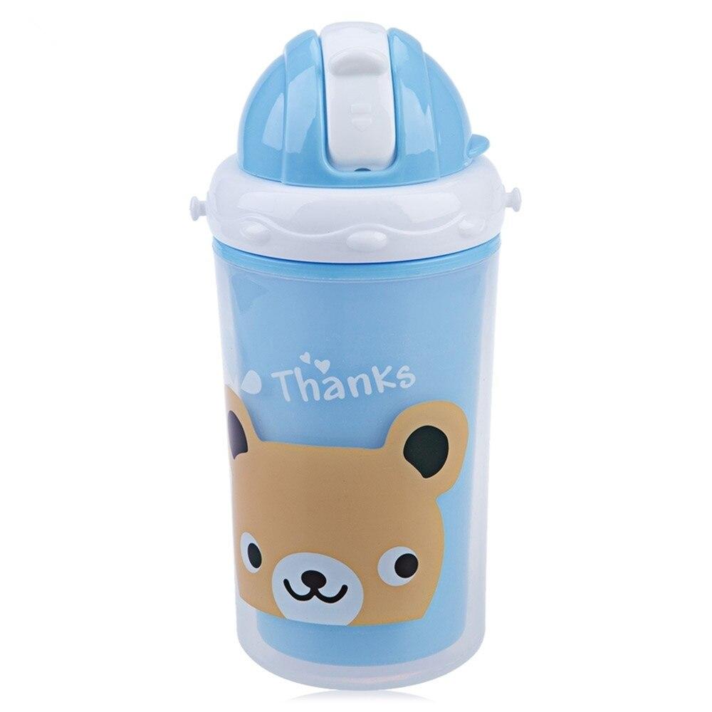 Bobei Chidren Portable Cute Fashion Cartoon High Quality Feeding Water Soft Silica Gel Straw Double Layer Heat Insulation Cups