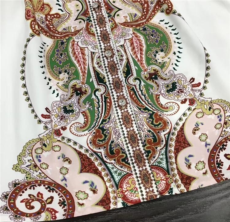 Новинка, как у женщин, платье 2019, Осеннее женское платье с отложным воротником, этнический принт, длинный рукав, Повседневная Длинная рубашка, платье для женщин - 5