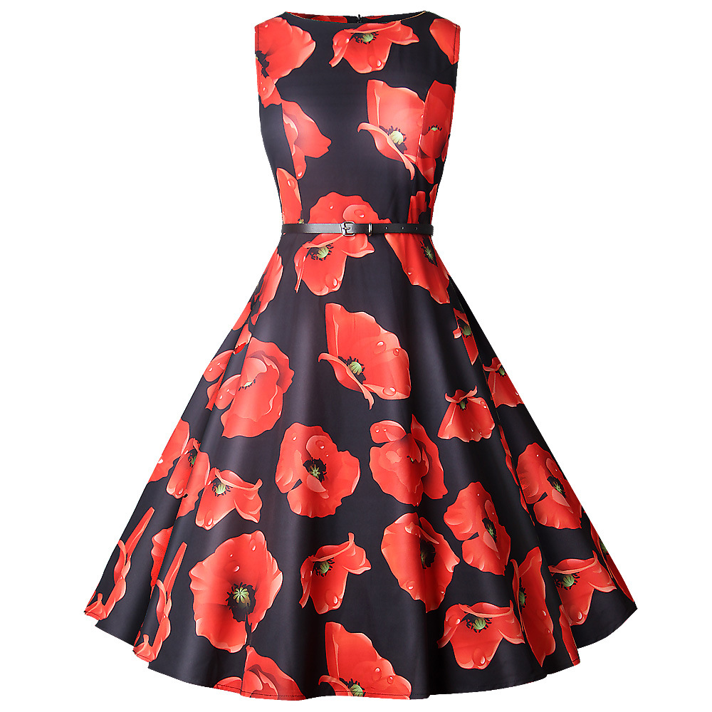 Vintage A line Banquet Dresses Woman Spring Sleeveless Basic Slim O neck Knee Length Party Print Female Dresses With Sash in Dresses from Women 39 s Clothing