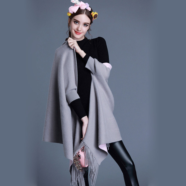 [TWOTWINSTYLE] 2017 autumn winter tassels shawl women scarves both sides can wear cashmere wraps new fashion