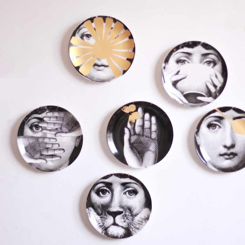 Italian Decorative Plates For Hanging.Hot Sale New Europe Figurines Italy Fornasetti Plates