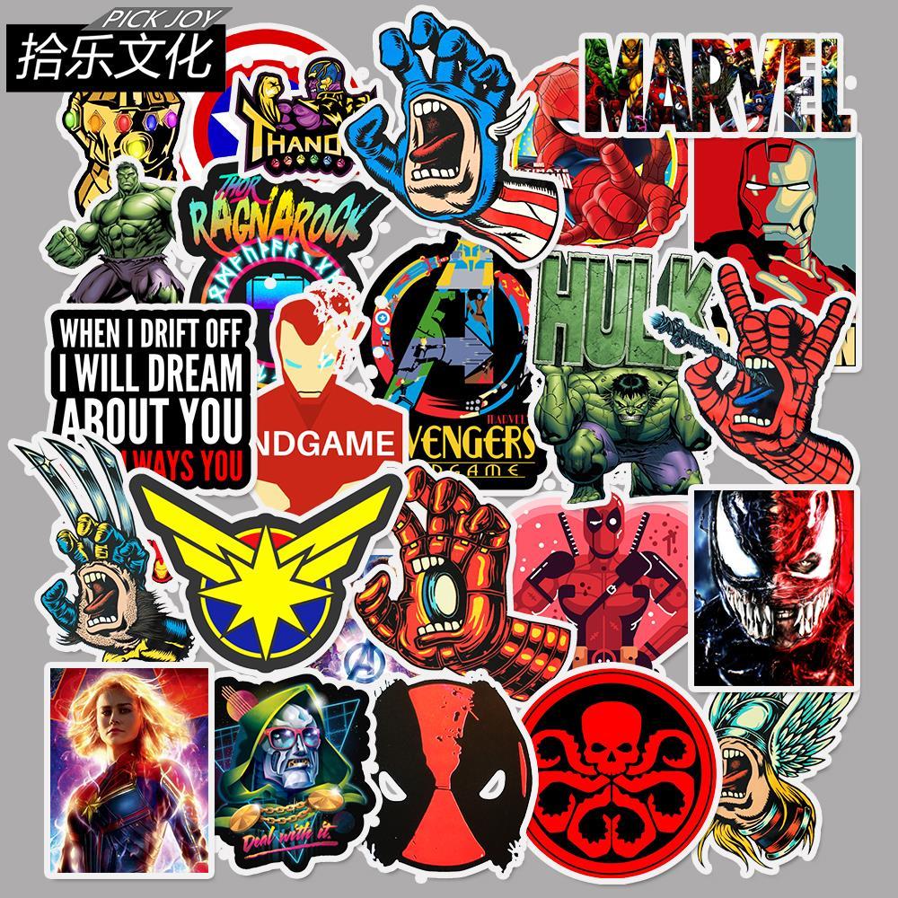 50Pcs New Marvel The Avengers superhero Cartoon Sticker For Laptop Moto Skateboard Luggage Guitar Decal Toy