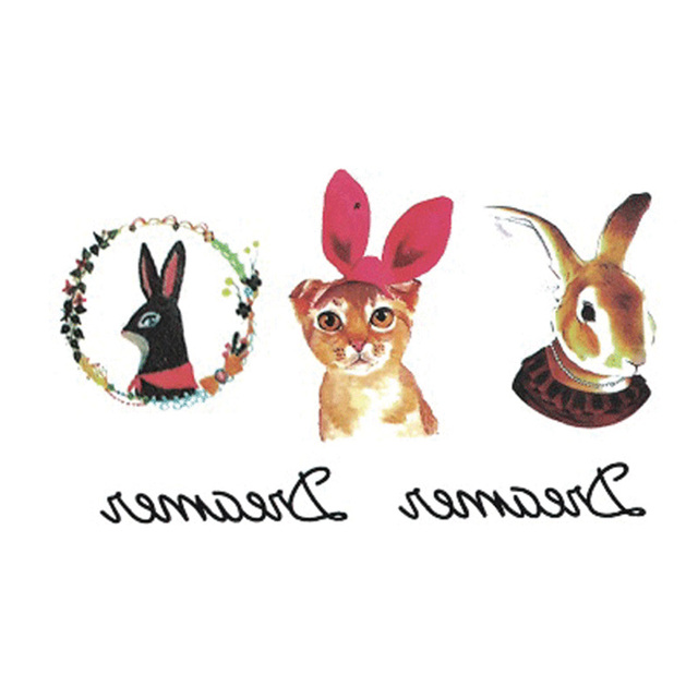 Wyuen Hot Design Temporary Tattoo For Adult Waterproof Tatoo Sticker Body Art Watercolor Style Rabbit A-044 Fake Tattoo Woman