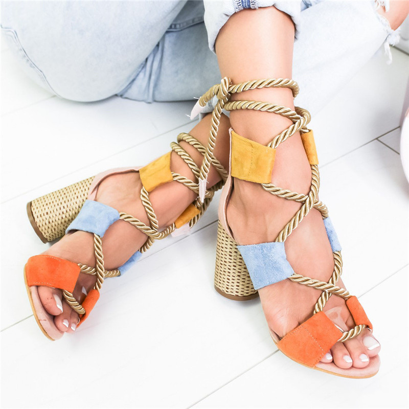 Bohemian Summer Wedge Sandals Women Pointed Fish Mouth Lace Up Platform Shoes