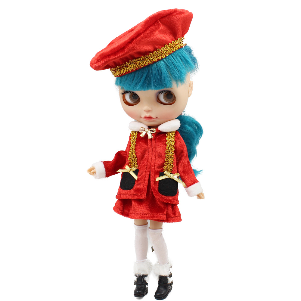 Red 1//6 Christmas Jacket Dress Hat Set Outfit Clothes for 12inch Blythe Doll