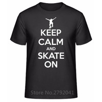 Summer Clothing Crew Neck Keep Calm And Skate On Short Design T Shirts For Men
