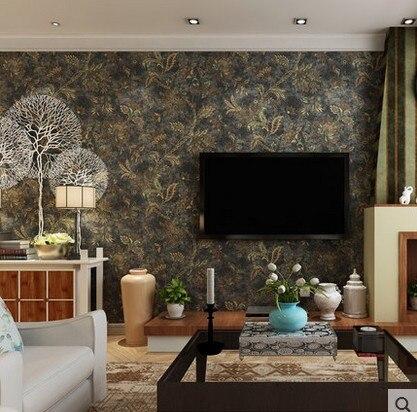 ФОТО waterproof American country wallpaper restoring ancient ways Dark rural large flowers sitting room bedroom sofa TV setting wall