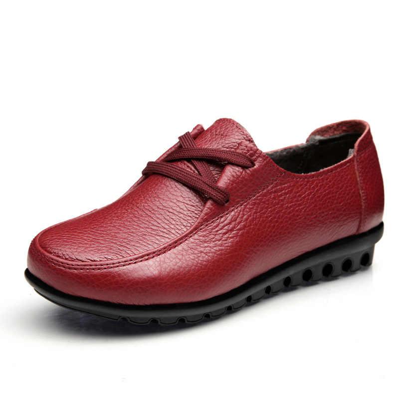2018 Sonbahar Kadın Çizmeler Kadın Hakiki Deri Kışlık Botlar Kadın Platformu Düz Platform rahat ayakkabılar Sürüngen