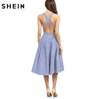 SheIn Women New Arrival Sexy Midi Dresses 2016 Summer Blue Striped Square Neck Sleeveless Criss Cross