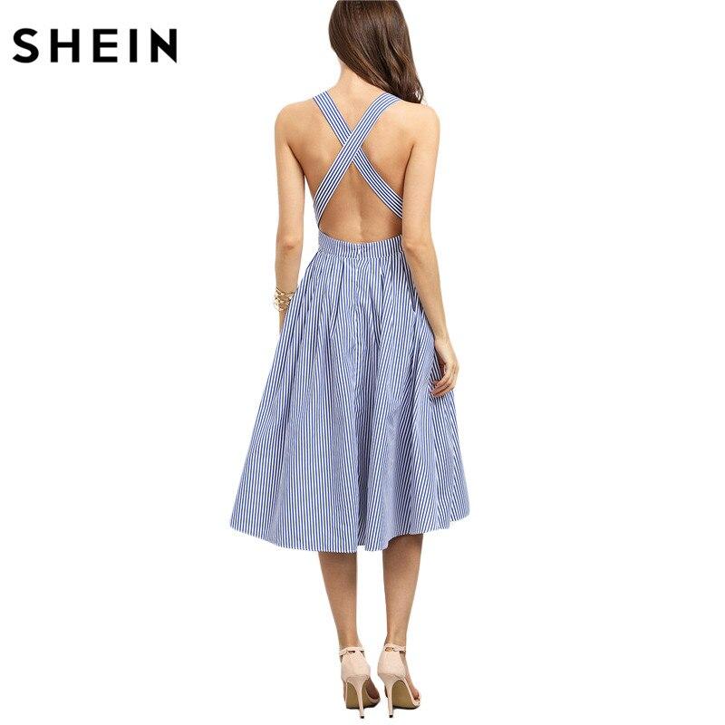 SHEIN Women New Arrival Sexy Midi <font><b>Dresses</b></font> 2016 Summer Blue Striped Square Neck Sleeveless Crisscross Back A Line <font><b>Dress</b></font>