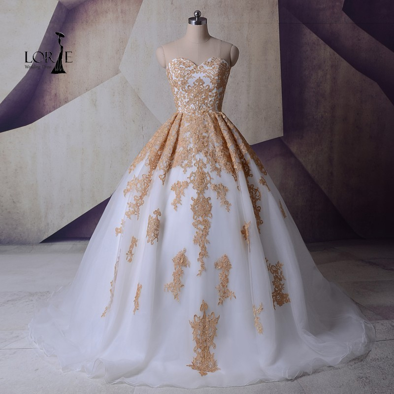 LORIE White And Gold font b Wedding b font Gowns Vestidos de noiva de luxo font