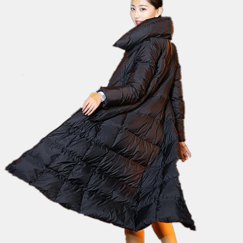 High Quality Thick Black Long Down Cotton Hooded Warm Winter Coat Women Fashion Casual Parka Femme Retro Jacket Women TT3398 high quality thick warm wind down jacket female fashion casual cotton coat women winter coat jacket warm long outerwear overwear