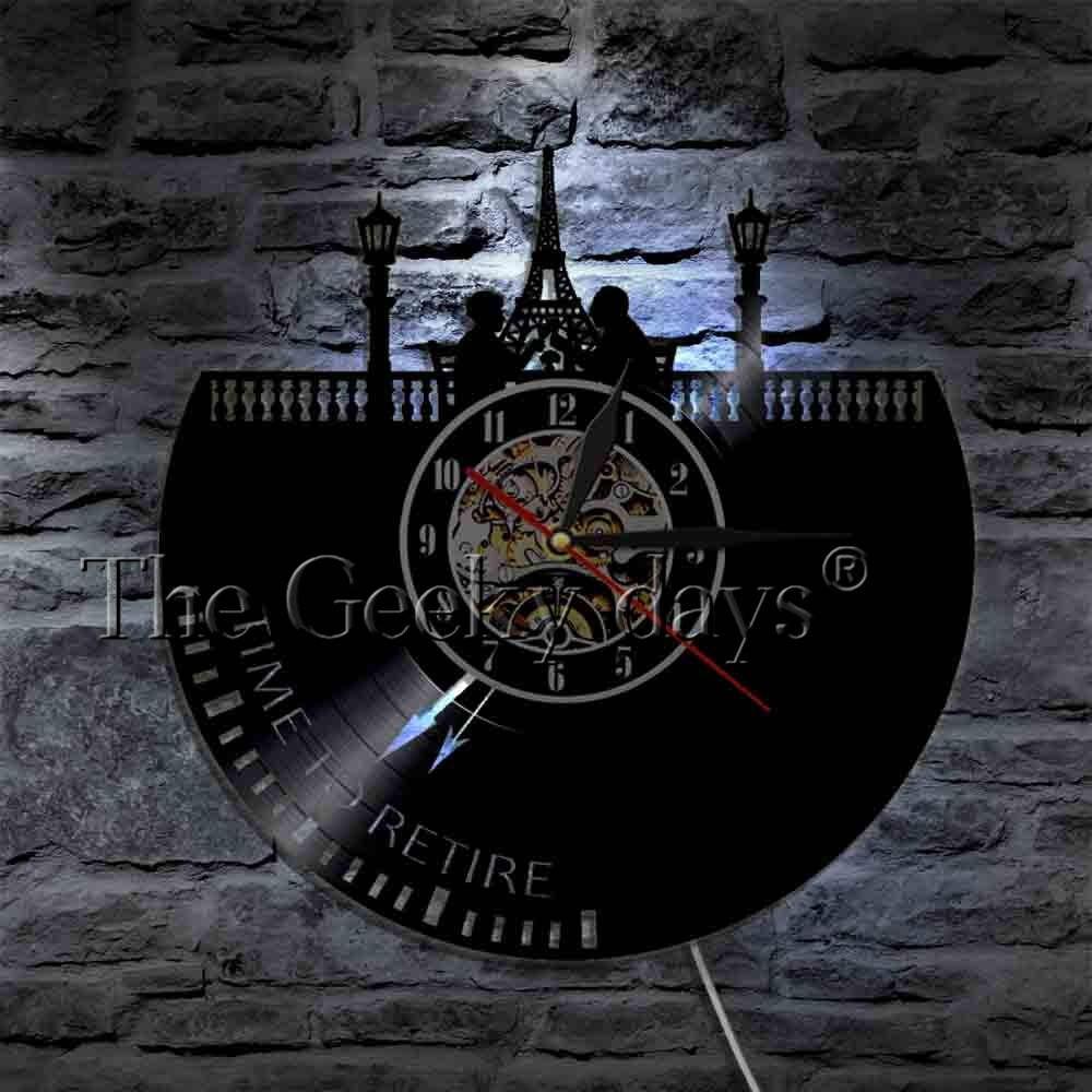 Время на пенсию духовного настенные часы карьера Retirment Виниловая пластинка настенные часы путешествия пенсионного плана декоративные наст...