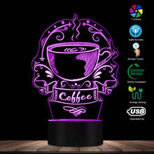 קפה מותאם אישית לוגו דקורטיבי תאורת אמנות צבעוני קפה בית עסקים סימן קפאין קפה לוגו 3D Led לילה אור מתנה